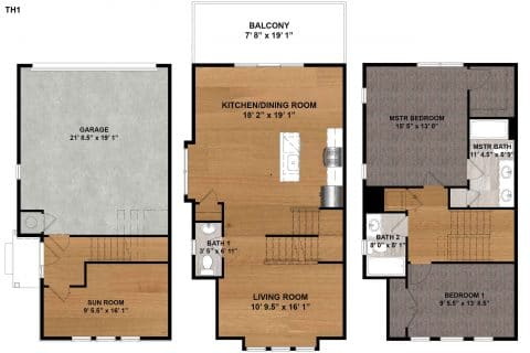 2 Bed / 2.5 Bath / 1,583 sq ft