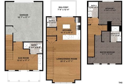 2 Bed / 3.5 Bath / 1,397 sq ft