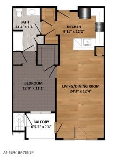 1 Bed / 1 Bath / 785 sq ft