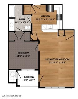 1 Bed / 1 Bath / 787 sq ft