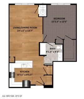 1 Bed / 1 Bath / 873 sq ft