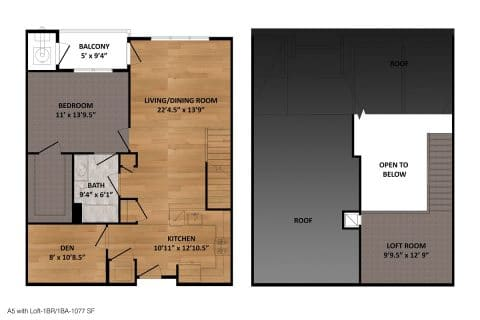 1 Bed / 1 Bath / 1,077 sq ft