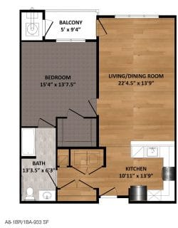 1 Bed / 1 Bath / 933 sq ft