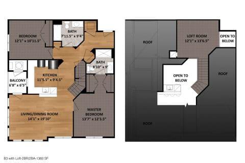 2 Bed / 2 Bath / 1,360ft²