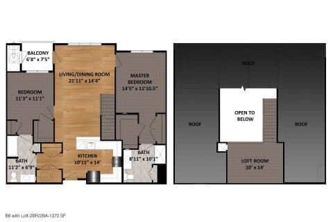 2 Bed / 2 Bath / 1,372ft²